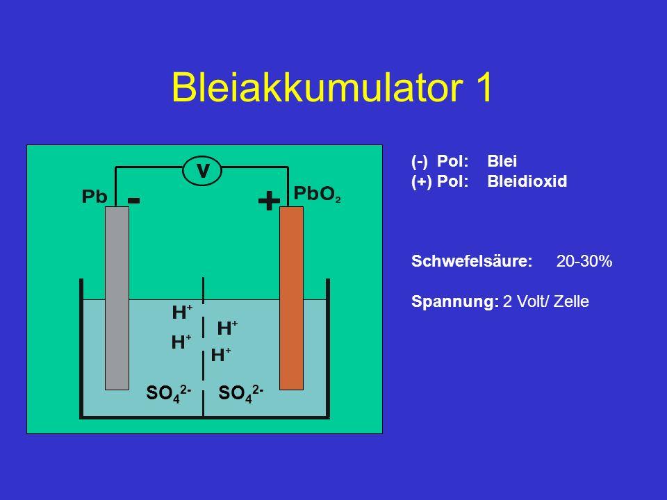 Bleiakkumulator 1 SO42- (-) Pol: Blei (+) Pol: Bleidioxid