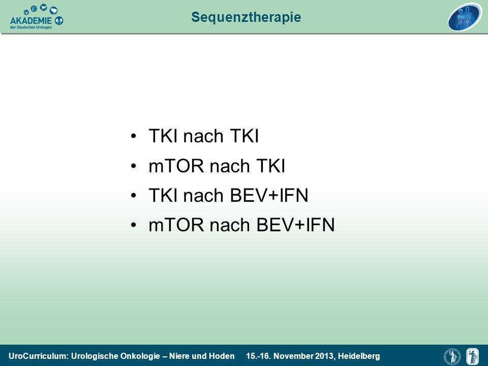 TKI nach TKI mTOR nach TKI TKI nach BEV+IFN mTOR nach BEV+IFN