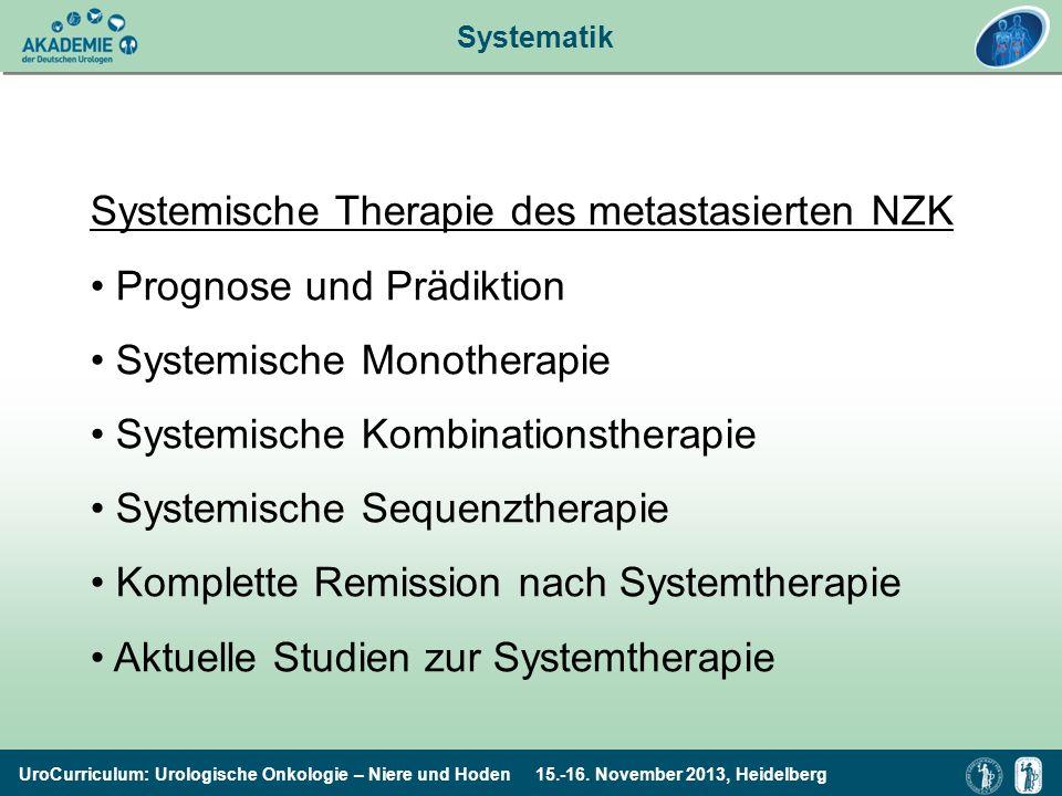 Systemische Therapie des metastasierten NZK Prognose und Prädiktion