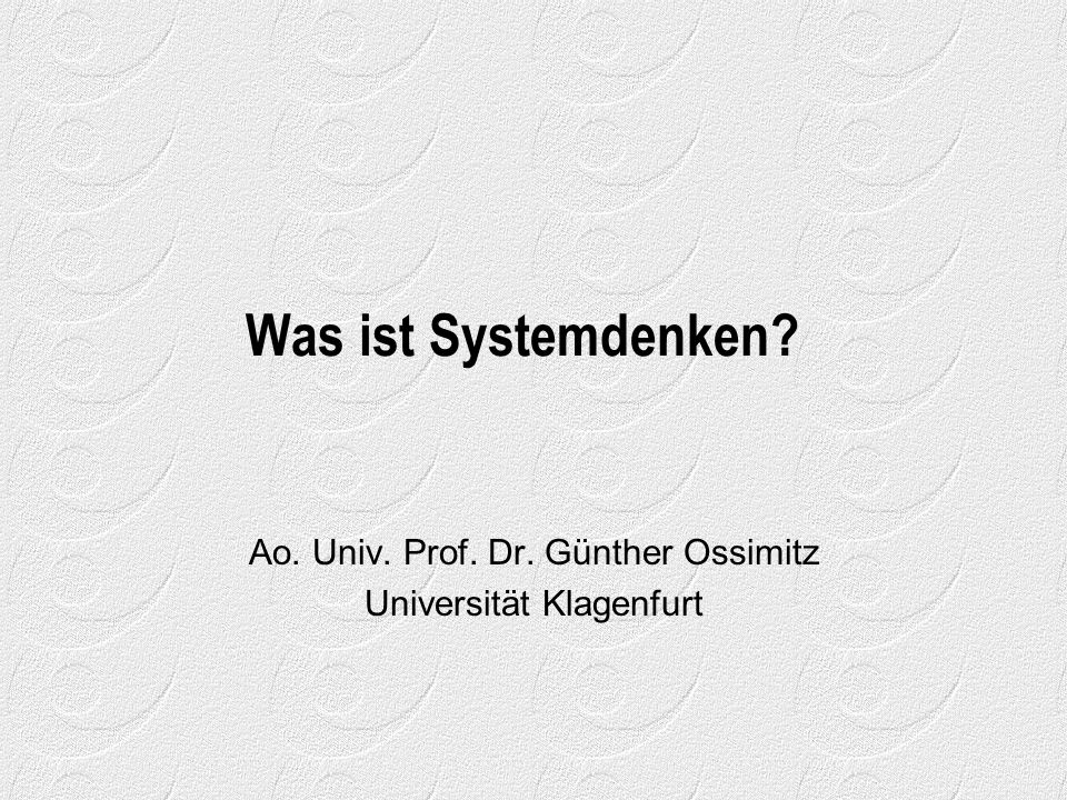 Ao. Univ. Prof. Dr. Günther Ossimitz Universität Klagenfurt
