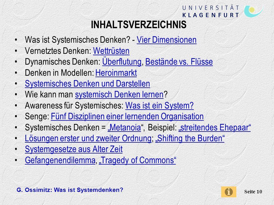 INHALTSVERZEICHNIS Was ist Systemisches Denken - Vier Dimensionen