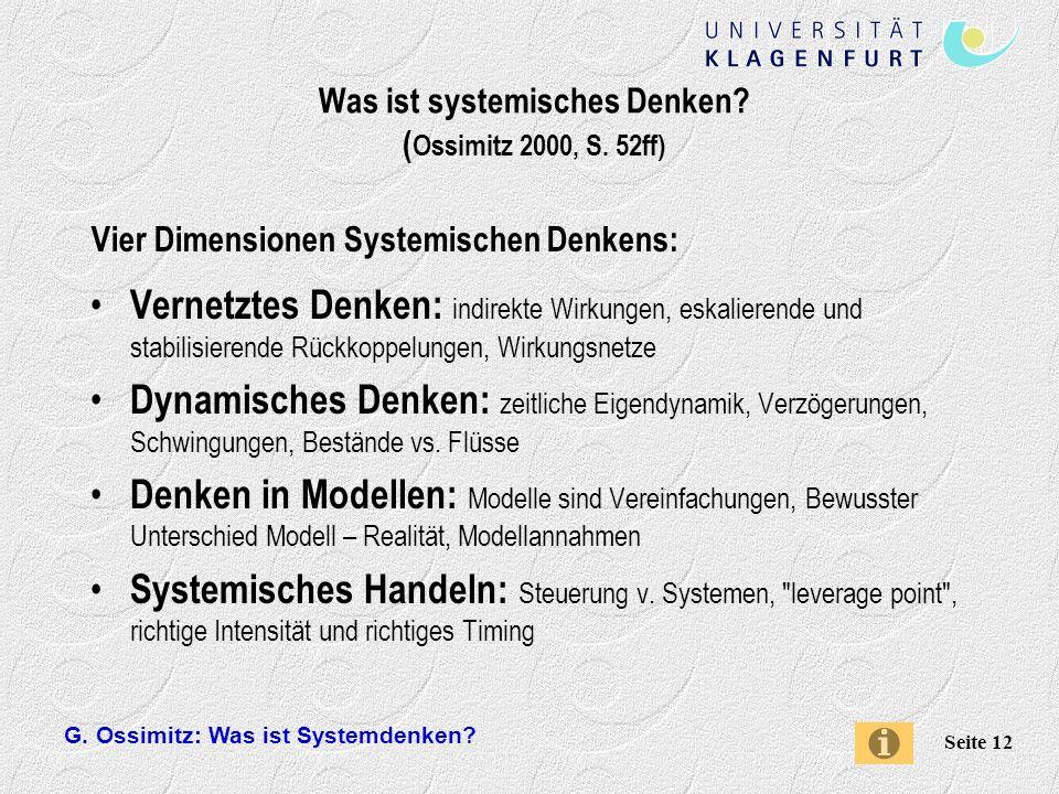Was ist systemisches Denken (Ossimitz 2000, S. 52ff)