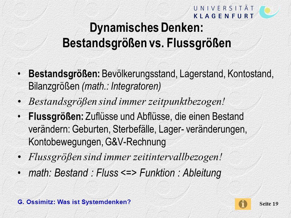 Dynamisches Denken: Bestandsgrößen vs. Flussgrößen