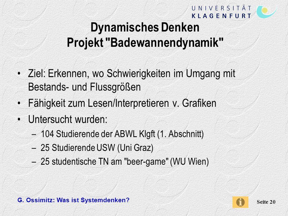 Dynamisches Denken Projekt Badewannendynamik