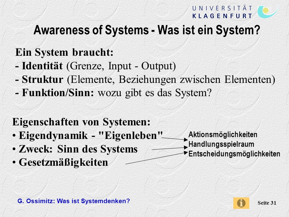 Awareness of Systems - Was ist ein System