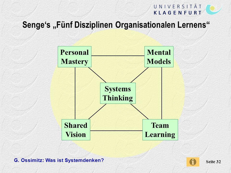 "Senge's ""Fünf Disziplinen Organisationalen Lernens"