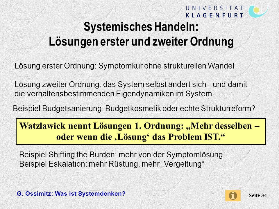 Systemisches Handeln: Lösungen erster und zweiter Ordnung