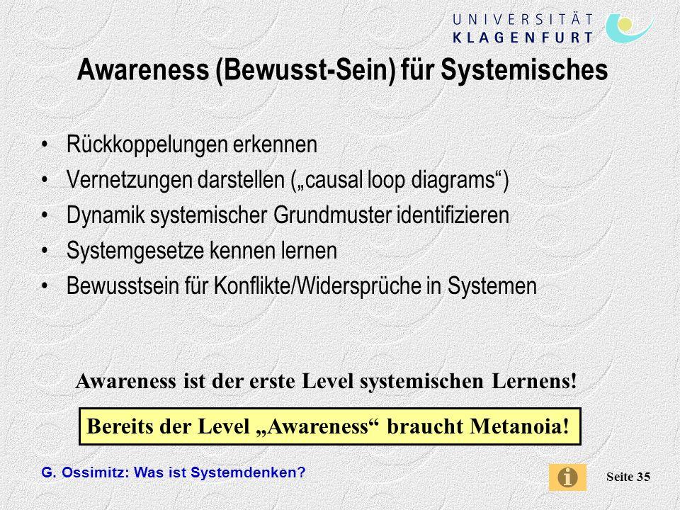 Awareness (Bewusst-Sein) für Systemisches