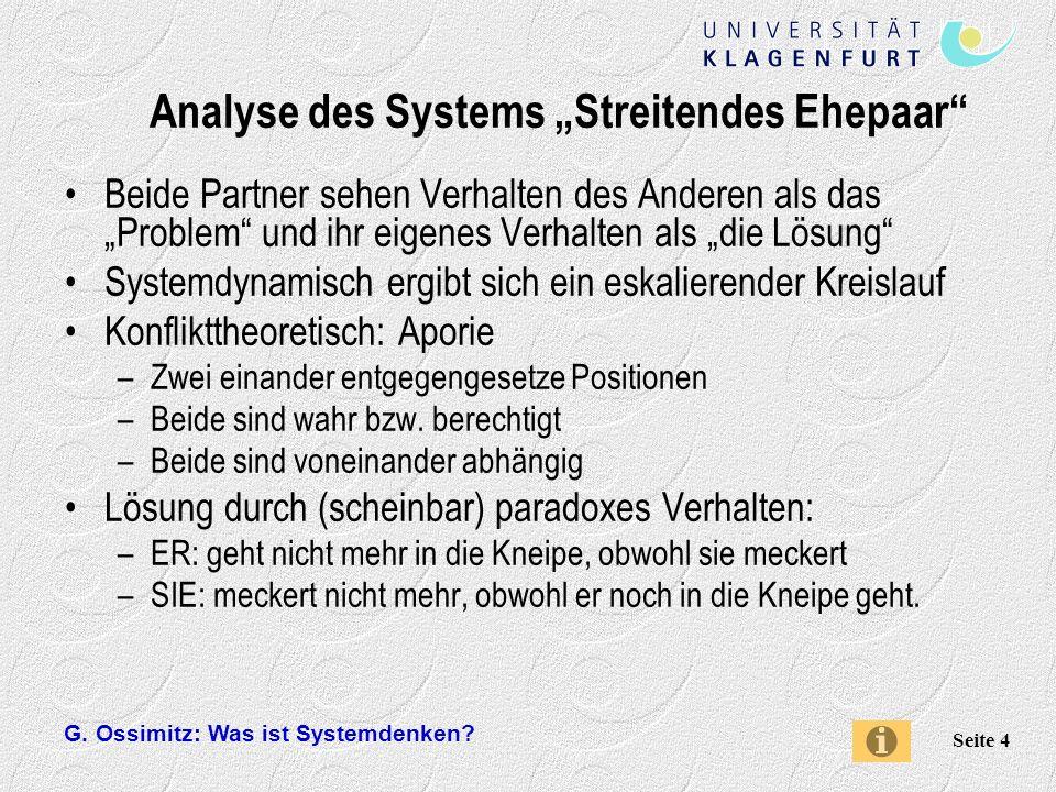 """Analyse des Systems """"Streitendes Ehepaar"""