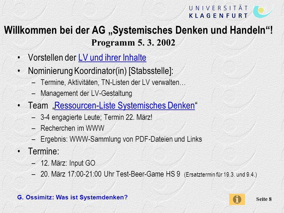 """Willkommen bei der AG """"Systemisches Denken und Handeln !"""