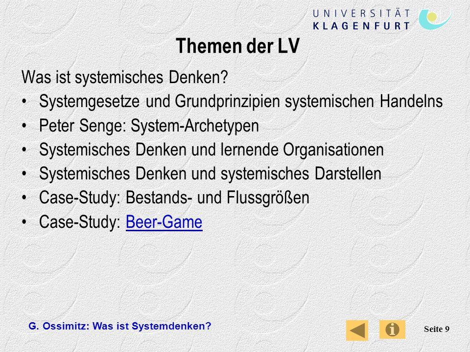 Themen der LV Was ist systemisches Denken