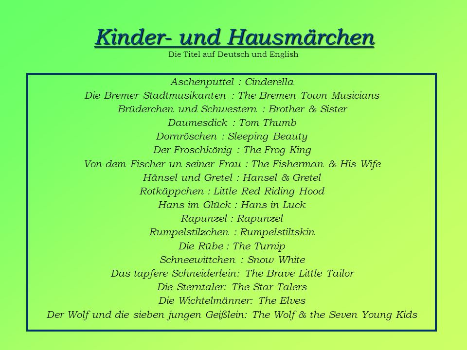 Kinder- und Hausmärchen Die Titel auf Deutsch und English