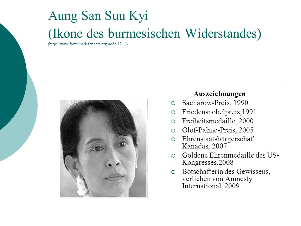 Aung San Suu Kyi (Ikone des burmesischen Widerstandes) (http://www