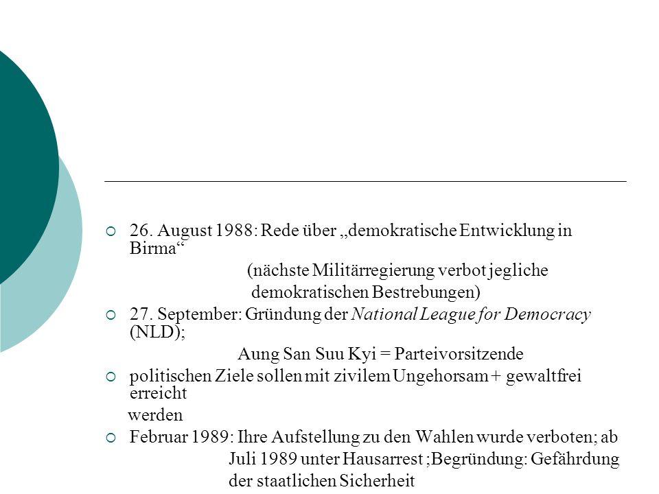 """26. August 1988: Rede über """"demokratische Entwicklung in Birma"""