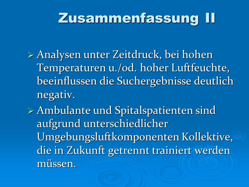 Zusammenfassung II Analysen unter Zeitdruck, bei hohen Temperaturen u./od. hoher Luftfeuchte, beeinflussen die Suchergebnisse deutlich negativ.