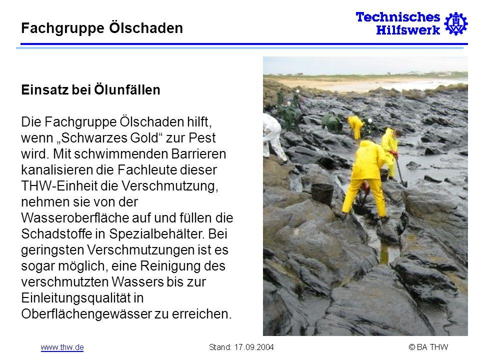 Fachgruppe Ölschaden Einsatz bei Ölunfällen
