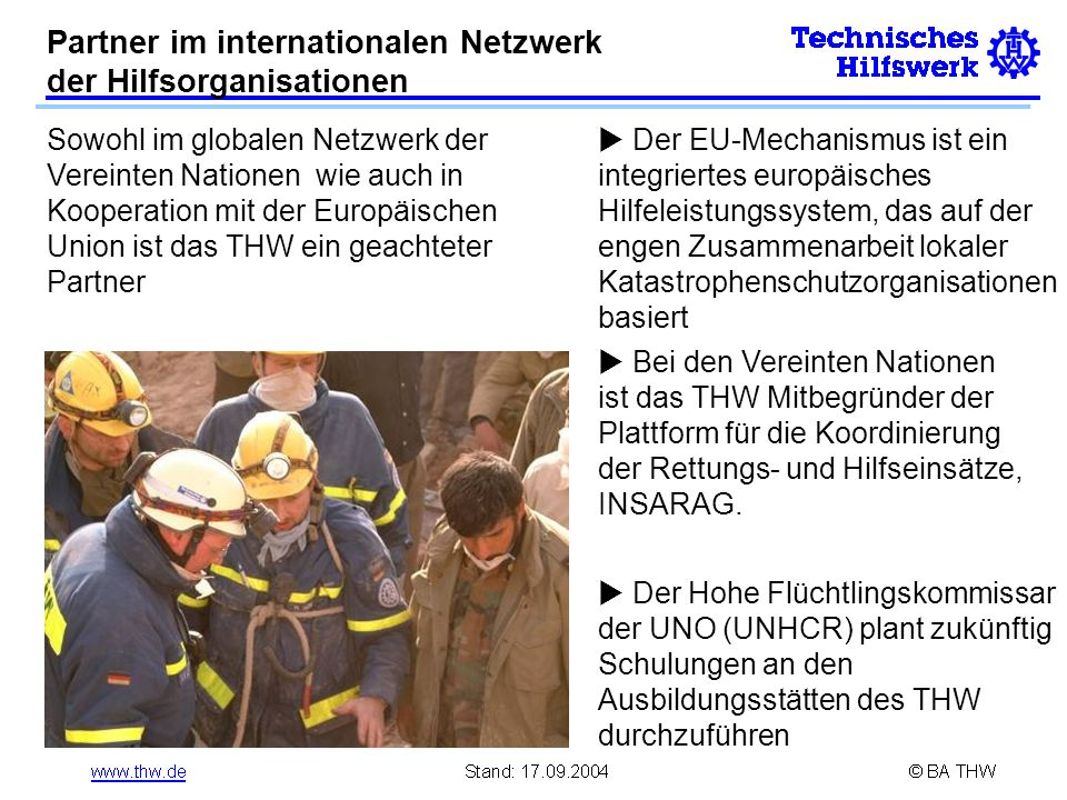 Partner im internationalen Netzwerk der Hilfsorganisationen