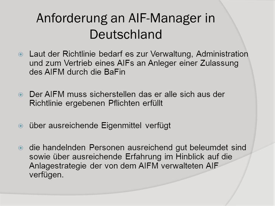 Anforderung an AIF-Manager in Deutschland