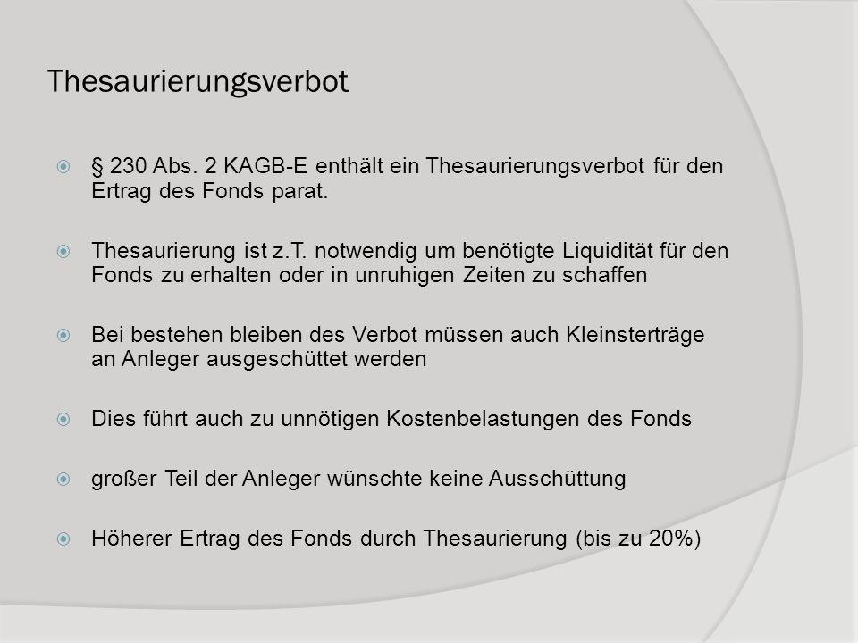 Thesaurierungsverbot