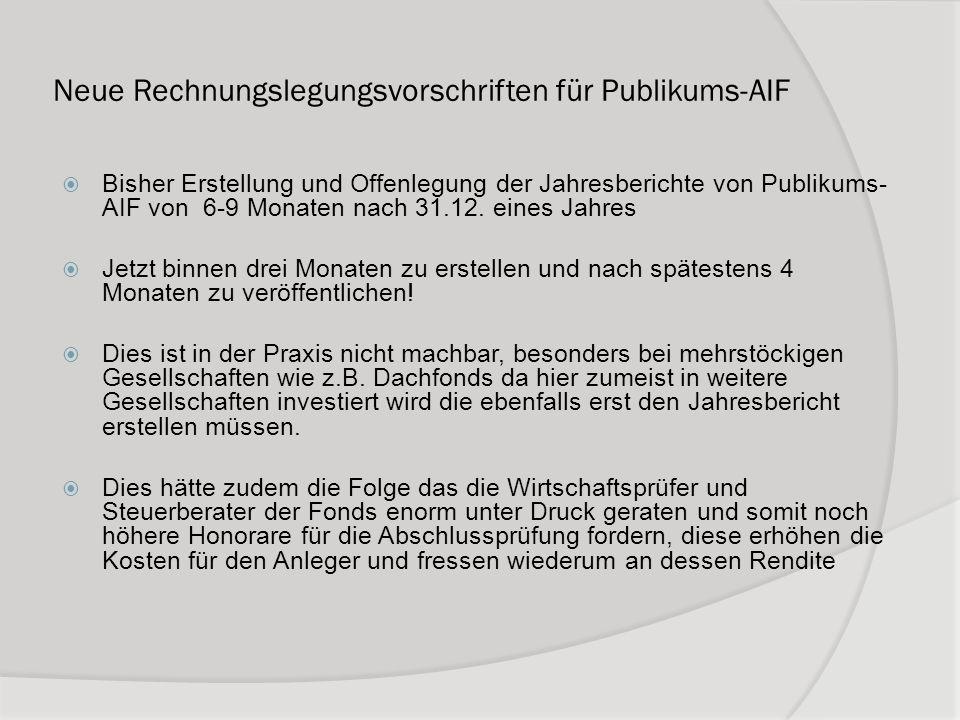 Neue Rechnungslegungsvorschriften für Publikums-AIF