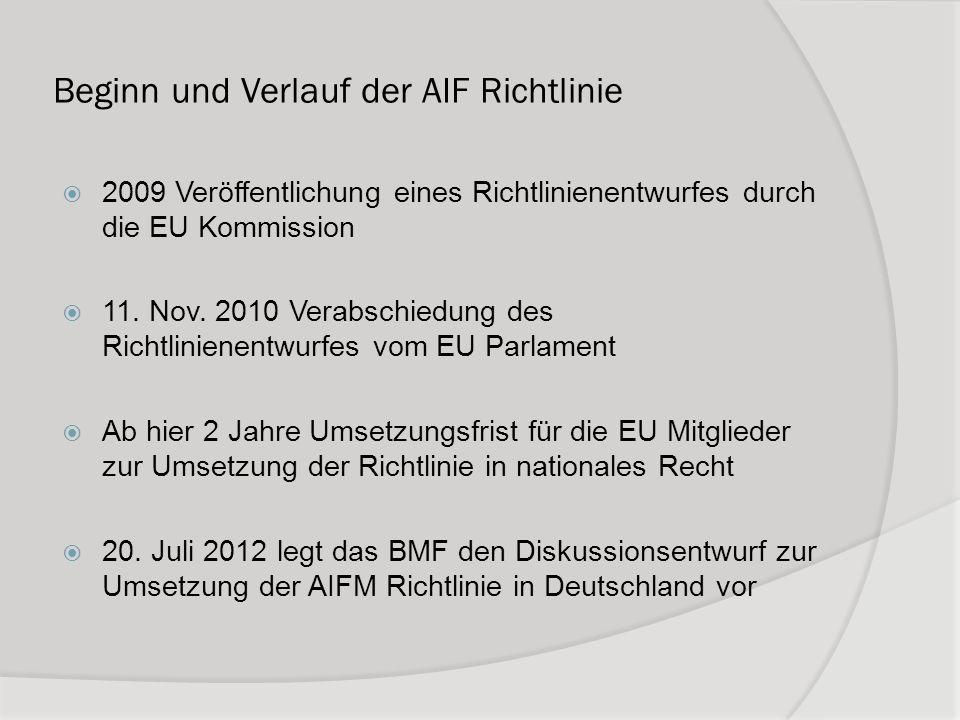 Beginn und Verlauf der AIF Richtlinie