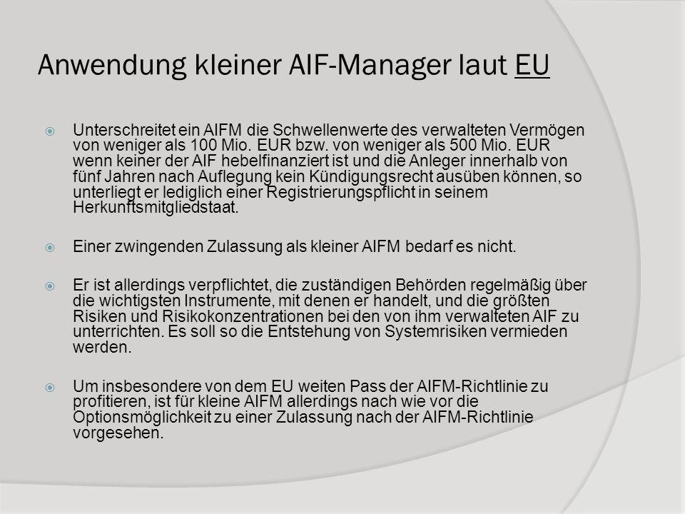 Anwendung kleiner AIF-Manager laut EU