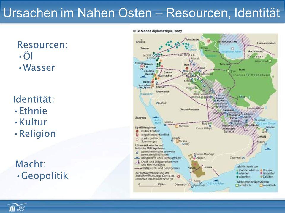 Ursachen im Nahen Osten – Resourcen, Identität