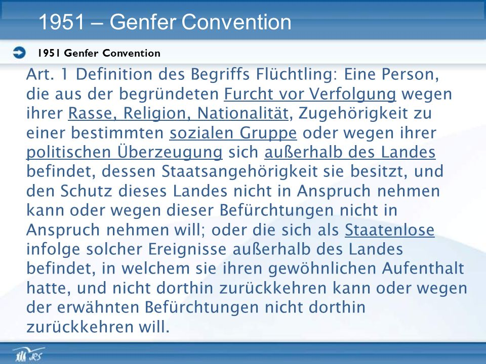1951 – Genfer Convention 1951 Genfer Convention. Art. 1 Definition des Begriffs Flüchtling: Eine Person,