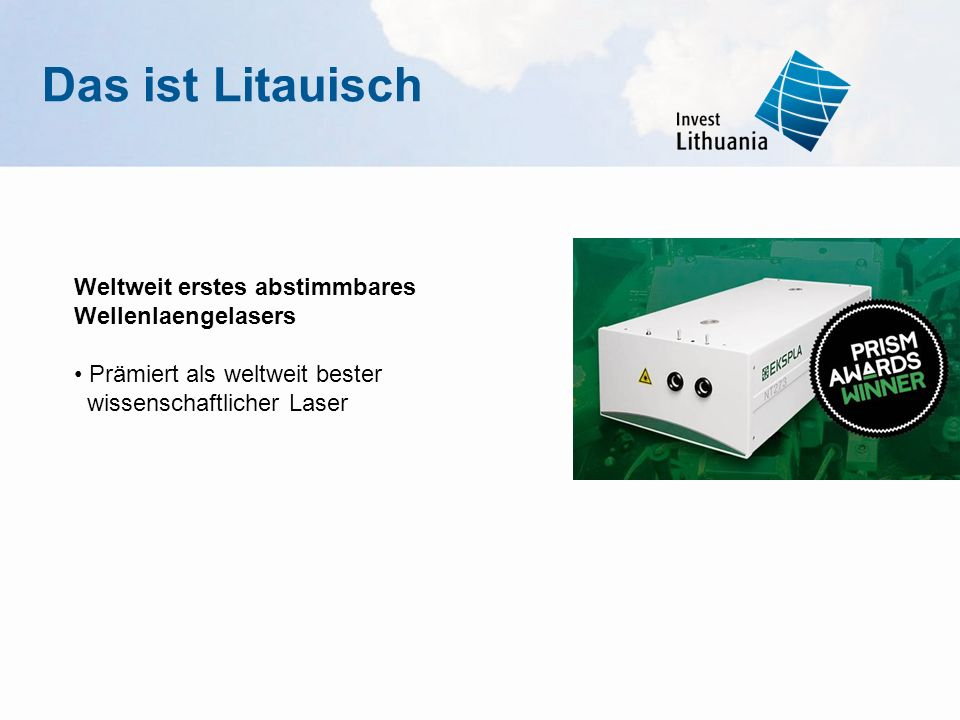 Das ist Litauisch Weltweit erstes abstimmbares Wellenlaengelasers • Prämiert als weltweit bester wissenschaftlicher Laser.