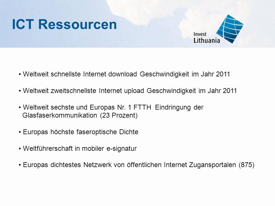 ICT Ressourcen • Weltweit schnellste Internet download Geschwindigkeit im Jahr 2011.