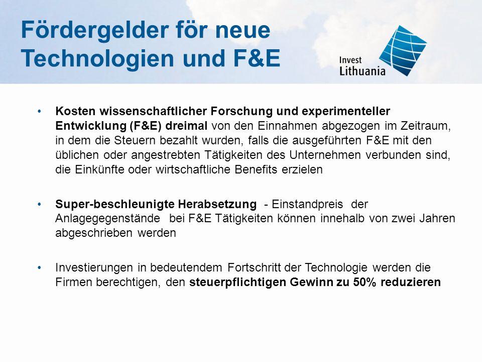 Fördergelder för neue Technologien und F&E