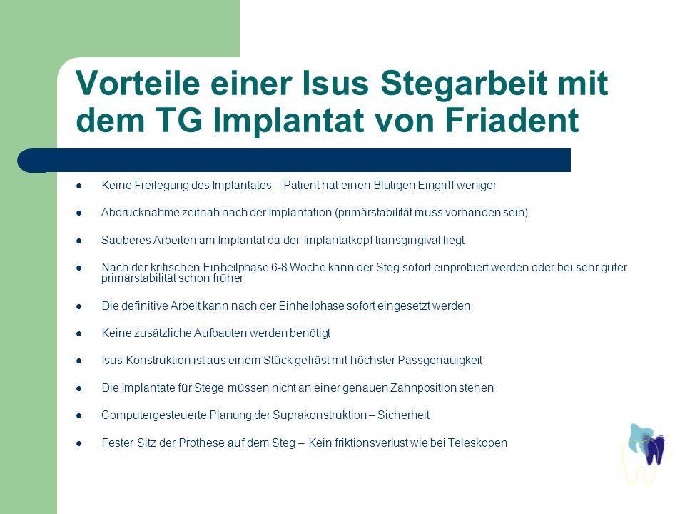 Vorteile einer Isus Stegarbeit mit dem TG Implantat von Friadent