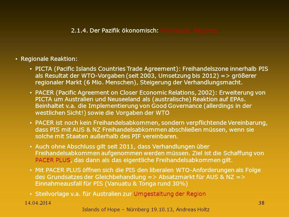 2.1.4. Der Pazifik ökonomisch: Freihandel, Regimes