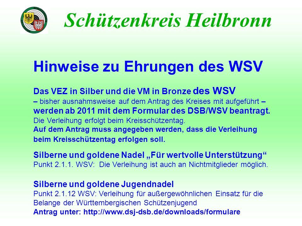 Hinweise zu Ehrungen des WSV