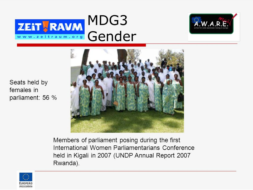 MDG3 Gender Seats held by females in parliament: 56 %