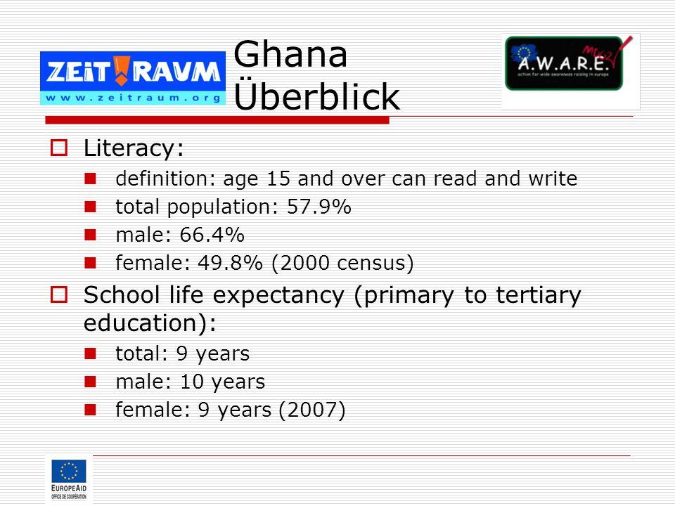Ghana Überblick Literacy: