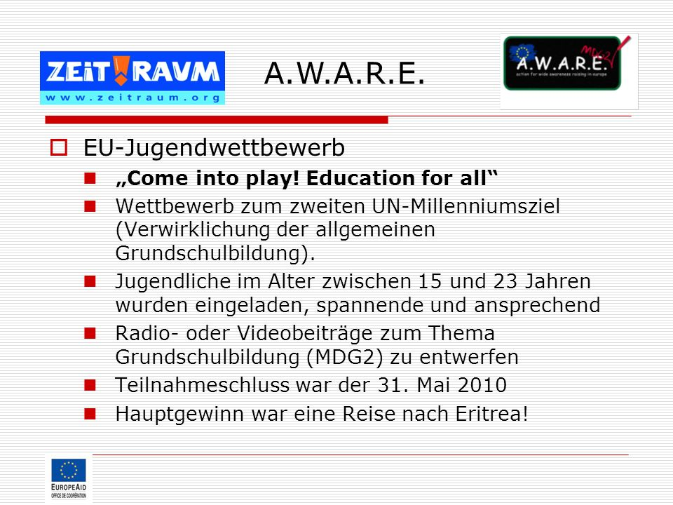 "A.W.A.R.E. EU-Jugendwettbewerb ""Come into play! Education for all"