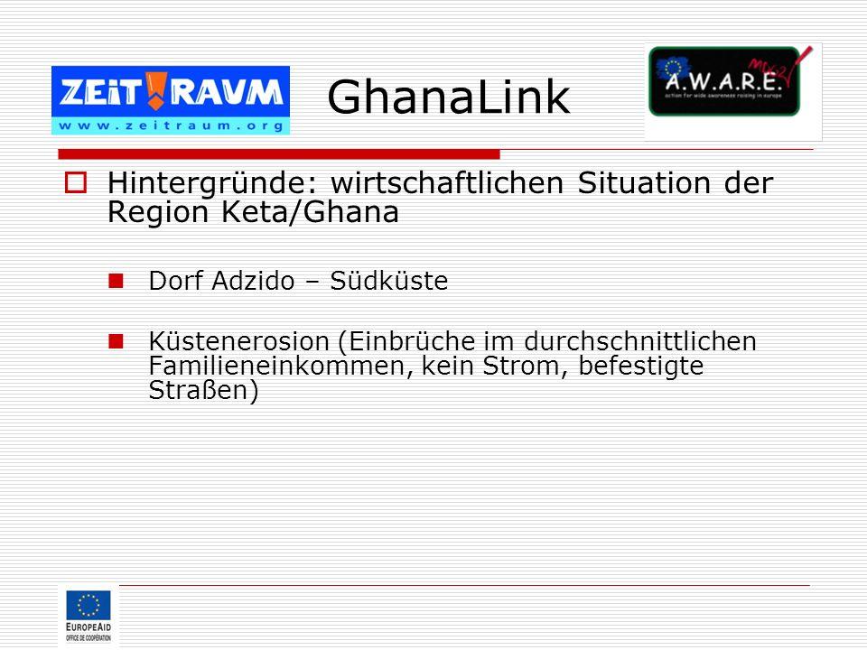 GhanaLink Hintergründe: wirtschaftlichen Situation der Region Keta/Ghana. Dorf Adzido – Südküste.