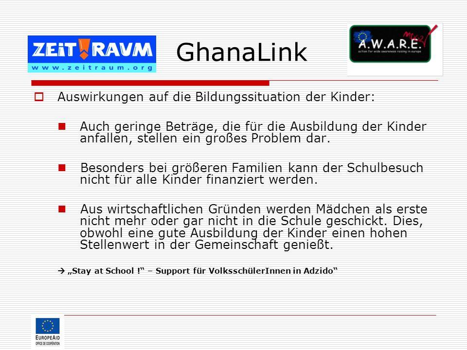 GhanaLink Auswirkungen auf die Bildungssituation der Kinder: