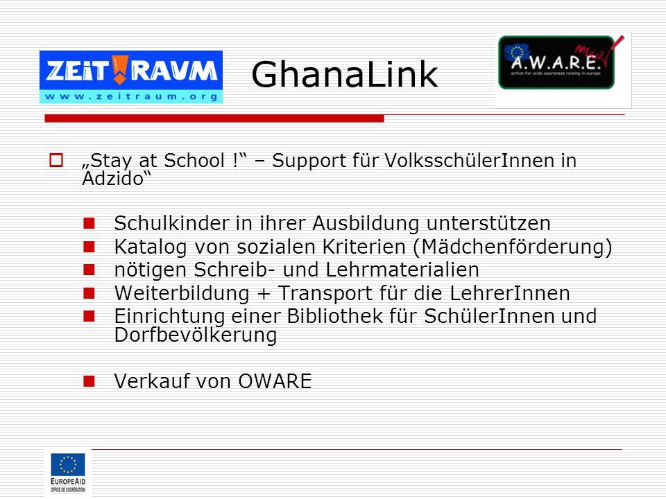 GhanaLink Schulkinder in ihrer Ausbildung unterstützen