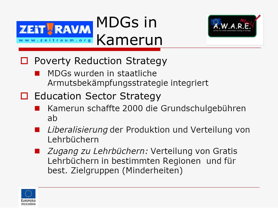 MDGs in Kamerun Poverty Reduction Strategy Education Sector Strategy