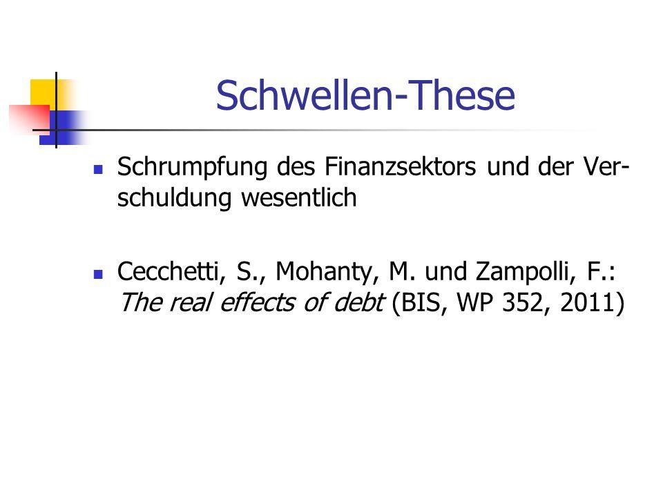 Schwellen-These Schrumpfung des Finanzsektors und der Ver-schuldung wesentlich.