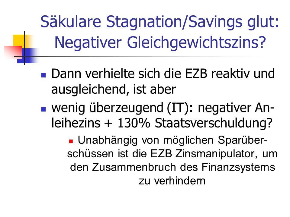 Säkulare Stagnation/Savings glut: Negativer Gleichgewichtszins