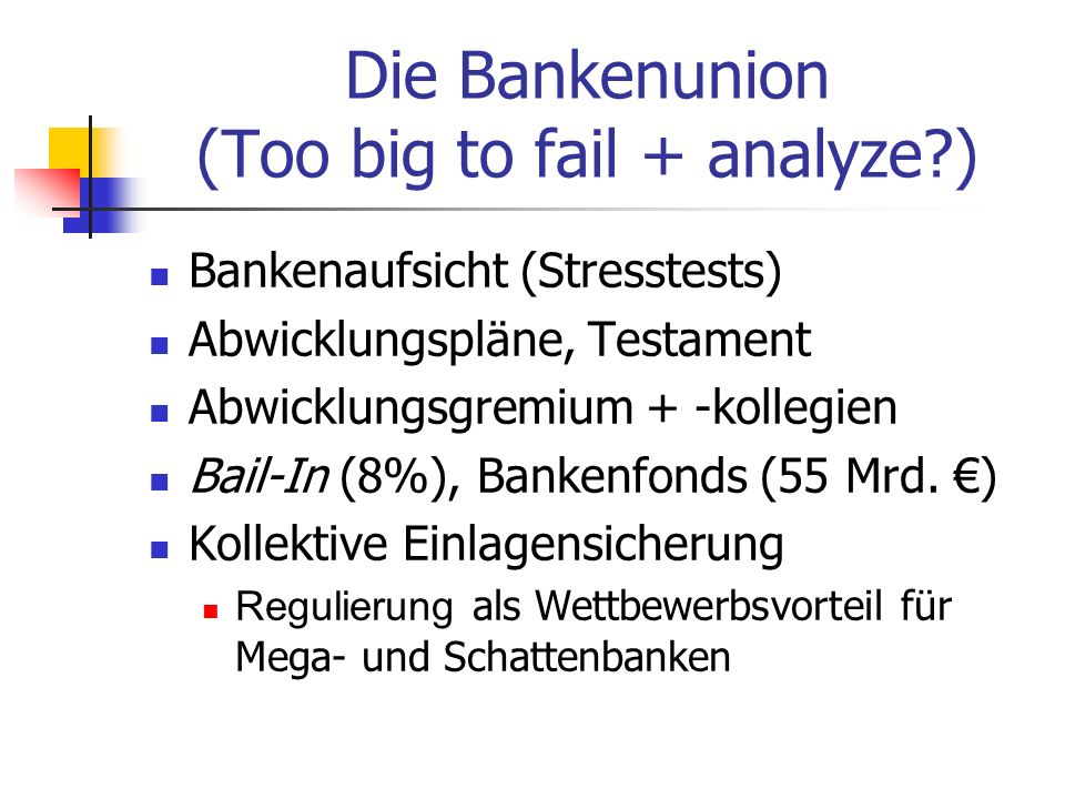 Die Bankenunion (Too big to fail + analyze )