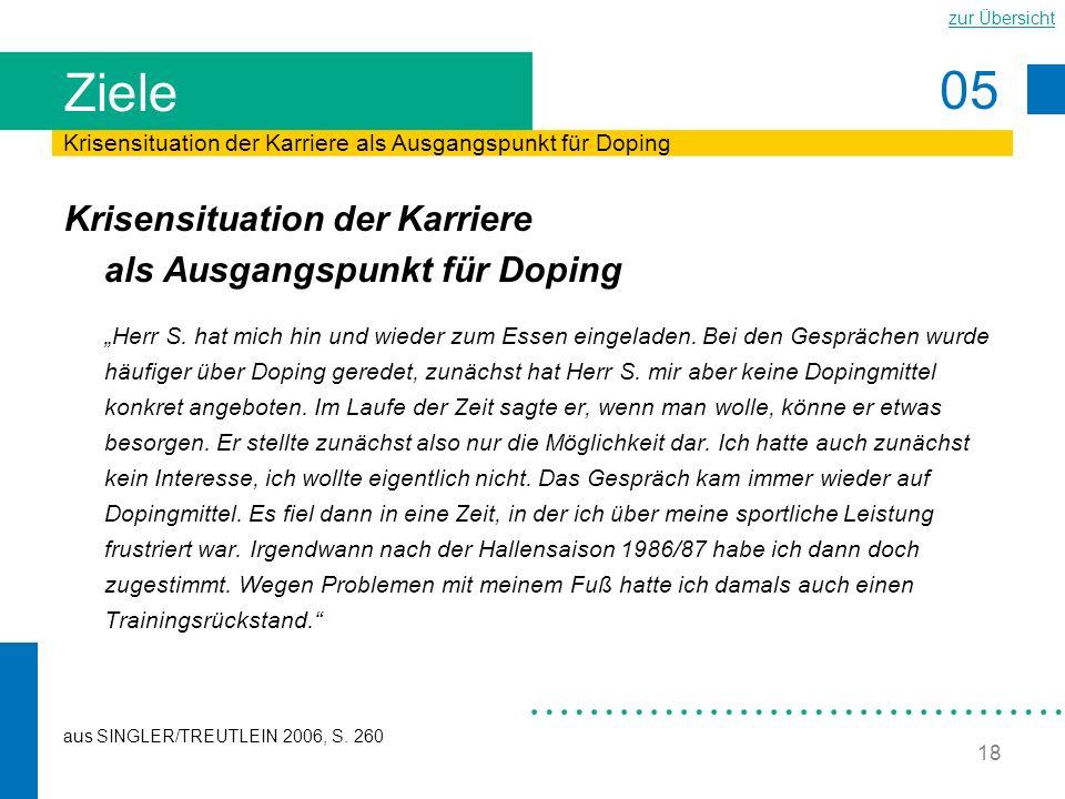 Ziele Krisensituation der Karriere als Ausgangspunkt für Doping