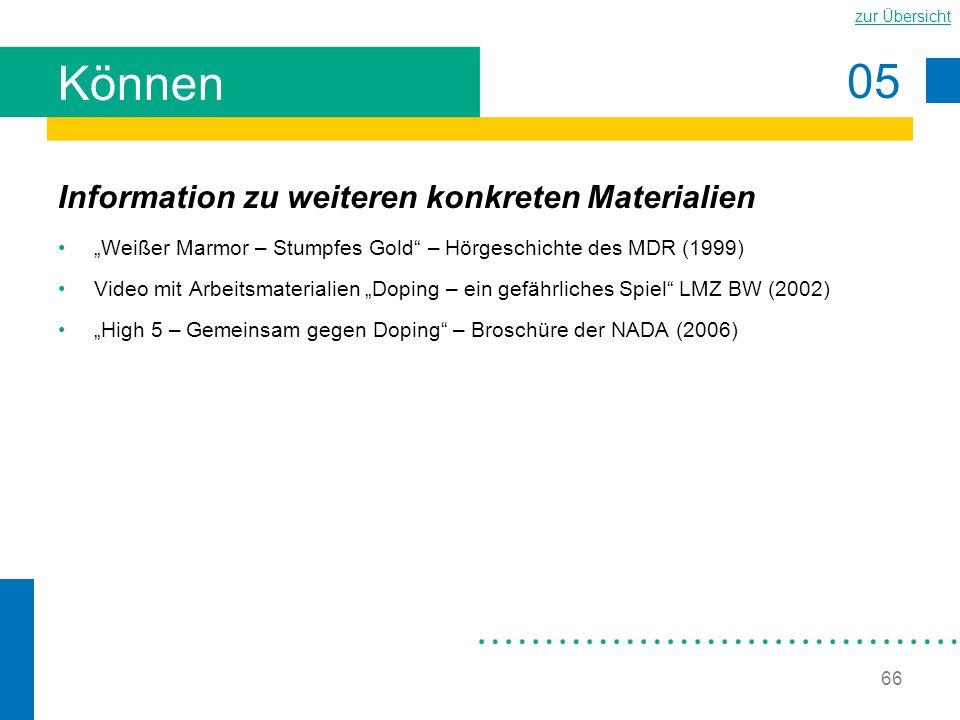 Können Information zu weiteren konkreten Materialien