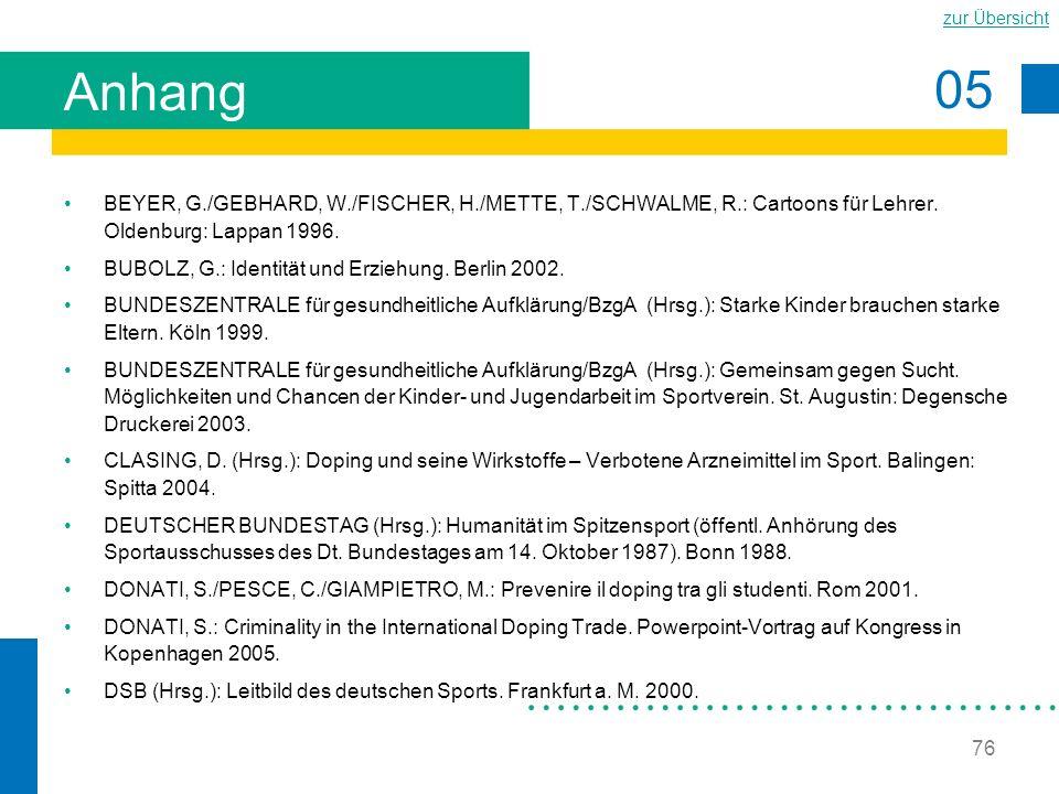 Anhang BEYER, G./GEBHARD, W./FISCHER, H./METTE, T./SCHWALME, R.: Cartoons für Lehrer. Oldenburg: Lappan 1996.