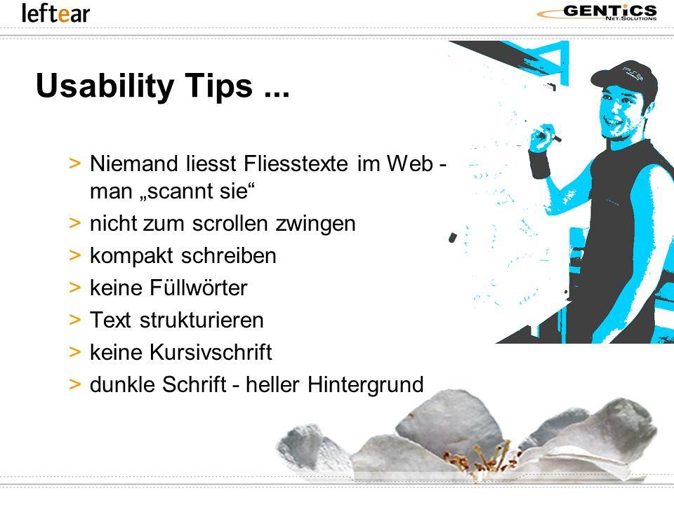 """Usability Tips ... Niemand liesst Fliesstexte im Web - man """"scannt sie nicht zum scrollen zwingen."""