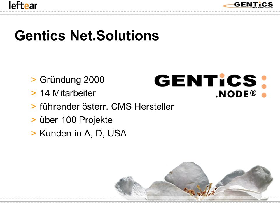 Gentics Net.Solutions Gründung 2000 14 Mitarbeiter
