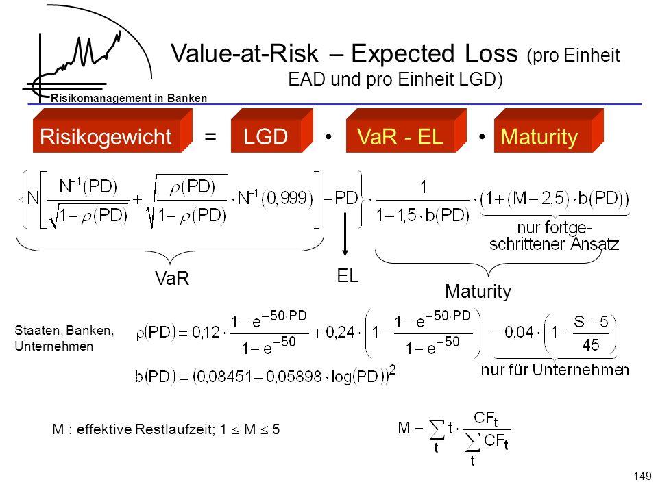 Value-at-Risk – Expected Loss (pro Einheit EAD und pro Einheit LGD)